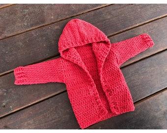 Hooded Crochet Baby Cardigan