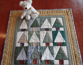 Quilt Art Wall Hanging Quilt Table Topper Christmas Green Forest Trees Nature