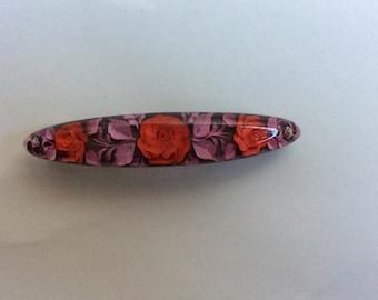 Hand made resin flower engraved hair clip barrette