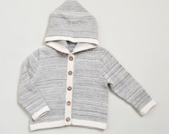 Hooded sweater in gray or navy melange / baby alpaca gray knit hoodie / wool jacket alpaca sweatshirt / boy hoodie / girl hoodie