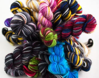Mini Skeins - Small Party Pack - Hand-Dyed Self-Striping Sock Yarn