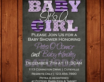 Baby shower invitation its a girl purple and teal digital modern its a girl purple and gray baby shower invitation digital file or add 5x7 prints stopboris Image collections