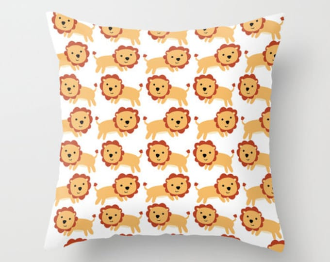 Lion Throw Pillow Cover Includes Pillow Insert - Lion Nursery Art - Childs Room Decor - Made to Order