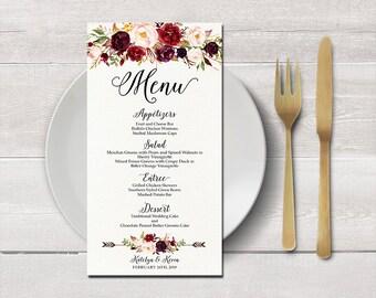 Wedding menu card printable, Digital Files, Watercolor Floral Burgundy Purple and Pink Wedding menu, evening menu, reception menu - BPF-23