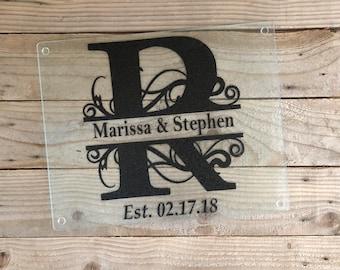 Personalized Cutting Board, Glass Cutting Board, Monogram Cutting Board, Wedding Gift, Custom Cutting Board, Hosstes Gift , Wedding Gift