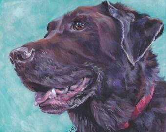 Labrador retriever dog art CANVAS print of LA Shepard painting11x14 chocolate lab