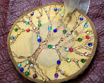 Family Tree Ornament - Personalized Gift for Mother Grandmother - Birthstones children grandchildren - custom made genealogy wood Christmas