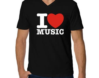 I Love Music V-Neck T-Shirt
