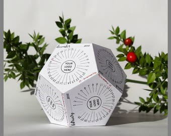 Corporate Desk Calendar 2018, Customized Printable Calendar, Dodecahedron Calendar, 3D Papercraft, Desk Accessory, 60% SALE, 3D Printables