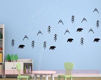 Woodland Bears Mountains Trees Vinyl Art Decals Nursery Animal Prints