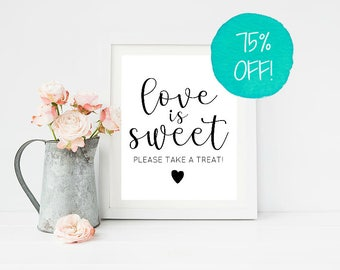 Love Is Sweet Sign, Love Is Sweet, Love Is, Candy Bar Sign, Wedding Sign, Wedding Signs, Rustic Wedding, Bestselling, Printable, Sweet Table