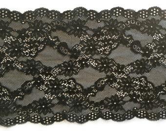 """Beautiful BLACK Wide Soft Stretch Lace Trim 6.5"""" / 17cm wide - 3 METERS"""