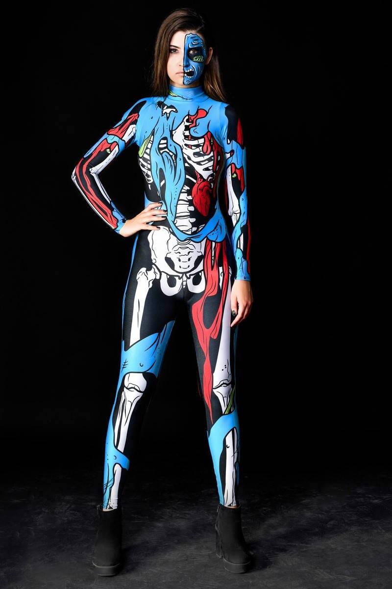 COMIC ZOMBIE SKELETON Halloween Costume Zombie Costume Adult