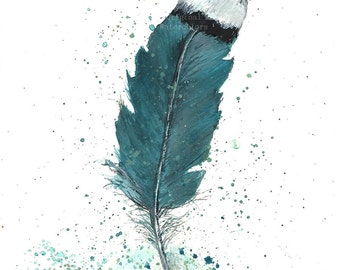 Original Watercolor Feather Study, Turquoise Feather,  Original Watercolor Print, Watercolor Feather Painting,