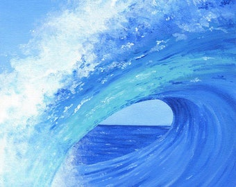 Ocean Wave Blank Inside Greeting Card, Notecards, Set of 5, with Envelopes, A2 Size
