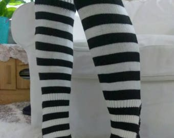 Striped Black and white Leg Warmers