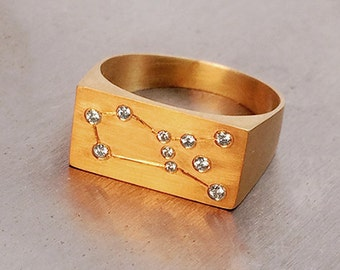 Constellation Ring 18k solid gold with baby diamonds - Zodiac Ring - Merkavah Market