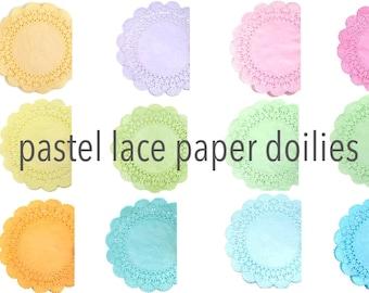 Pastel lace paper doilies - Choose your colors   Cambridge Tea party doilies, Wedding doilies, Baby showers, Scrapbooks, Party decor doily