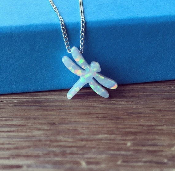 Necklace with Lab Opal Dragonfly pendant; Sterling silver opal Dragonfly necklace; Gold filled opal Dragonfly necklace