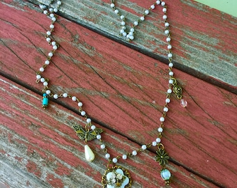 pearl necklace, Pemberly necklace, pearl chain necklace, long pearl necklace, Jane Austen fan, beaded chain, beaded chain necklace, charms
