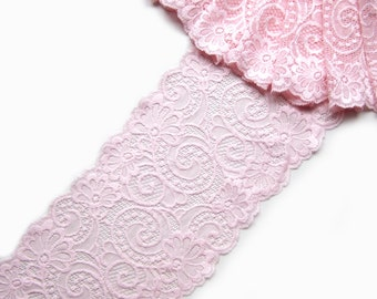 "Bra Making Pink Stretch Lace Trim Wedding Lace Trimming, Garter and Headband Making, Lingerie Lace, 6.3"" / 16 cm, lace per meter, art 4065"
