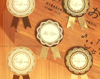 16 Brown Lace Medal Stickers (1.2 x 1.7in)