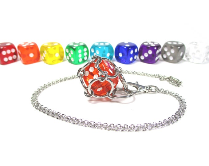 Removable Six-Sided Dice Necklace - Choice of Colors (Translucent Pipped d6s) - Stainless Steel Chainmaille
