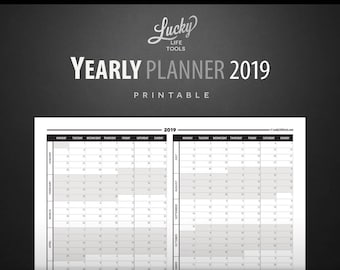 """Yearly Planner / Calendar 2019 - Year at a glance -  Printable PDF; Letter size 8.5""""x11"""""""