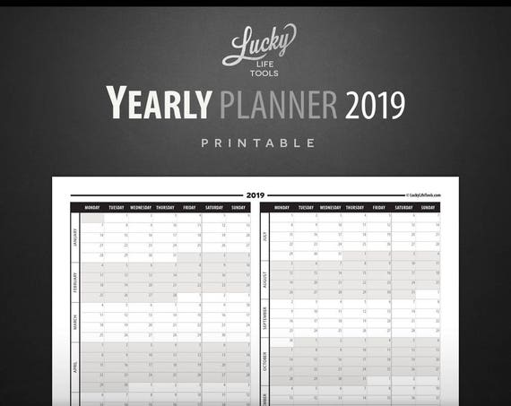"Yearly Planner / Calendar 2019 - Year at a glance -  Printable PDF; Letter size 8.5""x11"""