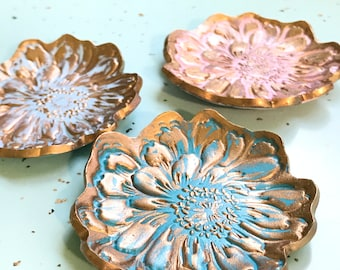 Small Clay Trinket Dish Jewelry Holder, Handpainted, Polymer Clay, Peony Flower Design, Rowland