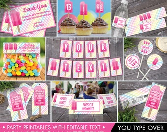 Popsicle Party Set Collection - Popsicle Birthday, Ice Lolly, Popsicle Decor, Ice Cream Party,Self-Editing   INSTANT Download Printable PDFs