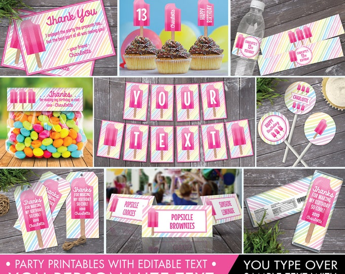 Popsicle Party Set Collection - Popsicle Birthday, Ice Lolly, Popsicle Decor, Ice Cream Party,Self-Editing | INSTANT Download Printable PDFs