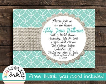 Bridal Shower Invitation - Printable Burlap Wedding Shower Invite with FREE Thank You Card
