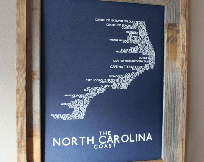 The North Carolina Coast Word Map (Dark Blue) - Unframed