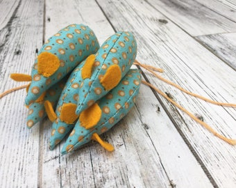 Blue and Gold Catnip Mouse Toy for Cats and Kittens