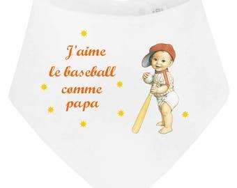 Baby bandana bib I love baseball as...
