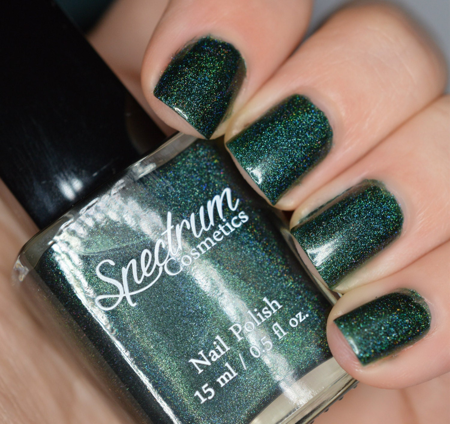 BLACK FOREST Linear Holographic Dark Green Nail Polish from ...