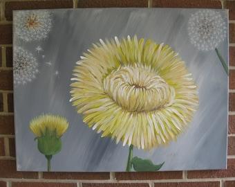 Dandelion Painting Yellow and Gray Painting Dandelion Decor Dandelion Art