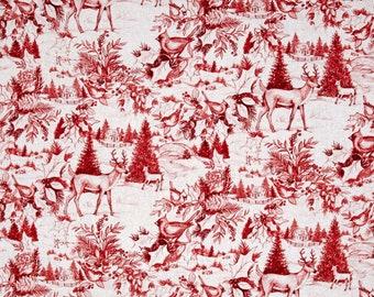 Christmas fabric, Woodland toile fabric, red fabric, Christmas toile fabric, Christmas fabric by the yard, #18054