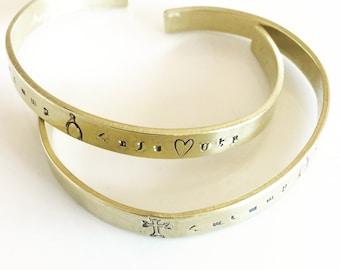 Handmade Armenian Cuff Bracelet- Faith, Hope, Love-Havadk, Hooys, Ser