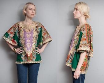 Vintage 1970's I Green | Heavily Embroidered | Cotton | Boho | Dashiki | Top | S/M