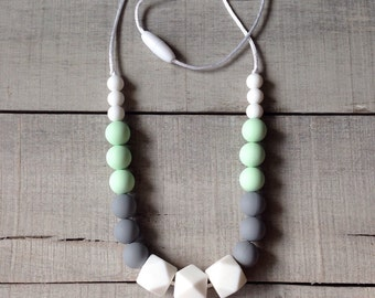 Mint Gray White Geometric Silicone Teething Necklace, Silicone Beads Nursing Necklace, Hexagon Silicone Beads, BeadedTeething Necklace