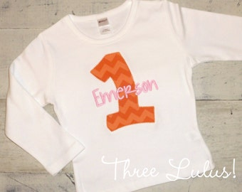 Birthday Number Long Sleeve Short Sleeve Shirt Applique Embroidered Custom Personalized Monogrammed First Second Third