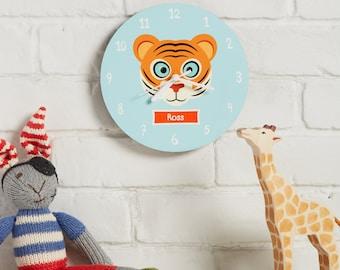 Wall clock - Kids bedroom clock - numbered clock - gift for children - nursery decor - custom clock - zoo theme - Personalised clock - clock