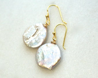 Museum Quality Baroque Large Coin Pearl Earrings in 14kg fill....
