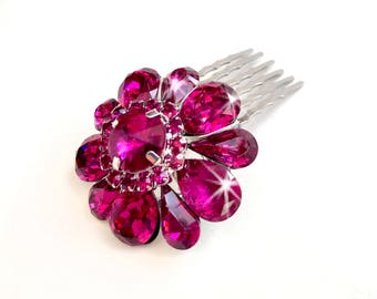 Comb - Fuchsia Pink and Silver Hair Piece - Vintage Style Brooch - Bridal Wedding Comb - Hot Pink Rhinestone Brooch - Crystal Hairpiece