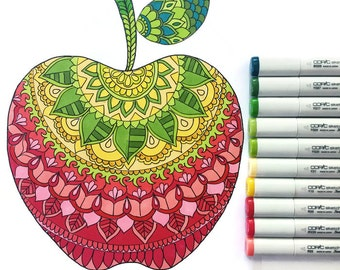 Apple Coloring Page download, Back to school coloring page, adult coloring page, Kids coloring page download, Printable coloring page