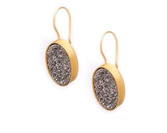 Druzy Drop Earrings - Silver Druzy in Gold Earrings - Large Druzy Earrings - Oval Druzy - Dangle Earrings