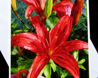 Fire Engine Lily, Blank Greeting Card