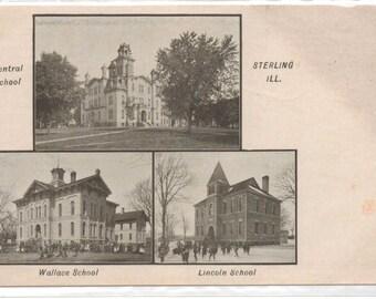 """Illinois, Vintage Postcard, """"Schools of Sterling, Illinois,""""  1910, #969."""